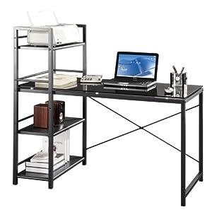 Amazon.com - Techni Mobili Computer Desk with 4-Tier Shelf - Glass