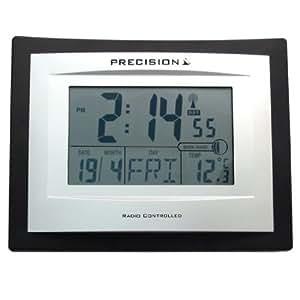 precision silver lcd radio controlled alarm clock black kitch. Black Bedroom Furniture Sets. Home Design Ideas