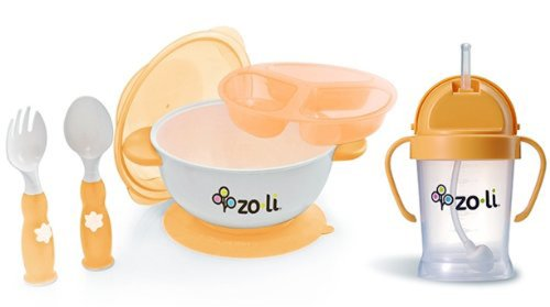 Zoli Orange Stuck Suction Bowl Feeding Set WITH Orange Sippy Cup