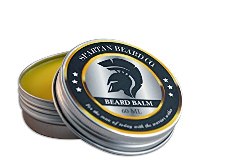 Spartan Beard Balm (60 ml) - Men's Leave-In Conditioner Reduces Frizz, Curliness and Split Ends - Softens Whiskers and Moisturizes Dry Skin - Cedarwood, Fir, Beeswax and Sweet Almond Oil