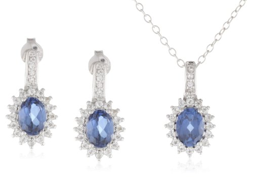 Sterling Silver Created Blue Sapphire and Created White Sapphire Oval Gemstone Pendant Necklace and Earrings Jewelry Set