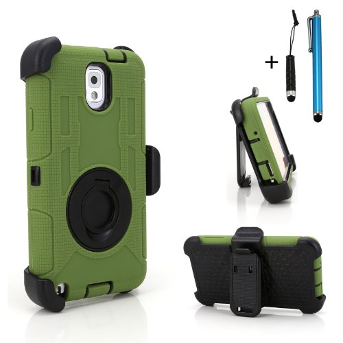 Cellular360 Ultra Shock&Drop-Proof Army-Grade Protective Case And Holster W/ One Headphone Jack Stylus And One Stylus Pen For Samsung Galaxy Note 3 Iii (Please Be Advised That It'S Not For Samsung Galaxy Note 2)- Extremly Protective Dual Layer Case With 3