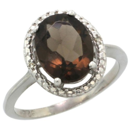 Sterling Silver Halo Engagement Ring w/ 0.02 Carat Brilliant Cut Diamonds & 3.35 Carats Oval Cut (10x8mm) Smoky Topaz Stone, 1/2 in. (13mm) wide, size 8
