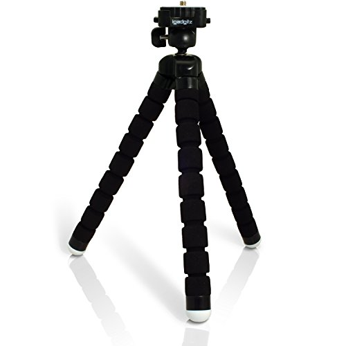 iGadgitz-Lightweight-Large-Universal-Flexible-Foam-Mini-Tripod-for-SLR-DSLR-Cameras-with-Quick-Release-Plate-Black