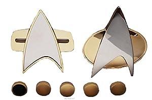 Star Trek Next Generation & Voyager 7 Piece MAGNETIC COMMUNICATOR PINS & RANK PIP SET