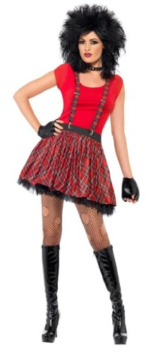 Smiffy's Punk Kit Tartan Tutu Braces and Fingerless Gloves - One Size