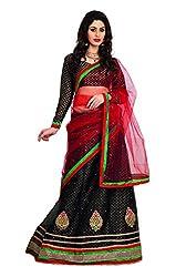 7 Colors Lifestyle Black Coloured Net Embroidered Semi-Stitched Lehenga Choli