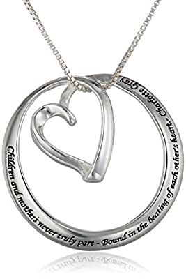 "Sterling Silver ""Children and Mothers Never Truly Part-Bound in the Beating of Each Other's Heart-Charlotte Gray"" Circle Heart Pendant Necklace , 18"""