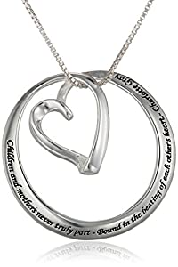 """Sterling Silver """"Children and Mothers Never Truly Part-Bound in the Beating of Each Other's Heart-Charlotte Gray"""" Circle Heart Pendant Necklace , 18"""""""