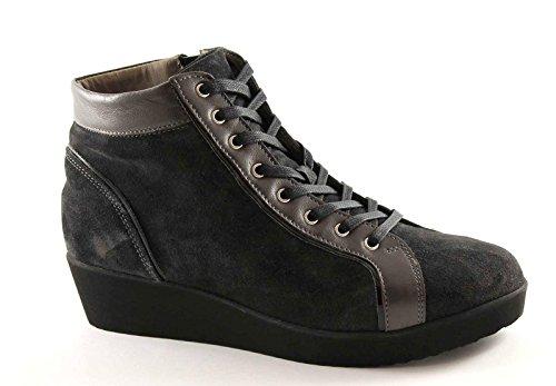 GRUNLAND AURA PO0646 antracite scarpe stivaletti donna zip laterale 39