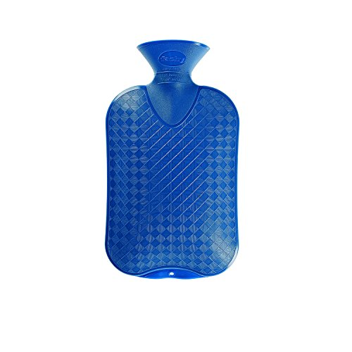 Fashy Classic Cross-Hatched Hot Water Bottle - BLUE - Made in Germany (Hot Water Bottle English compare prices)