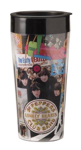 Vandor 64751 The Beatles Albums 16 Oz Plastic Travel Mug, Multicolor