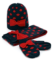 3 Piece Bow & Spotted Hat, Scarf & Gloves Set