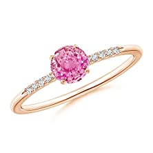 buy Classic Pink Sapphire Solitaire Ring With Diamond Shoulders In 14K Rose Gold
