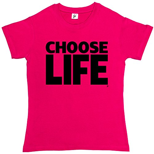 Choose Life Wham Retro 80s Fancy Dress Womens Ladies Cotton Short Sleeve Hot Pink T-Shirt - Size XL / 16