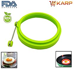 """KARPâ""""¢ Set Of 2 Round Shape Silicone Fried Egg Mold Pancake Rings, Non Stick Bakeware Accessories Kitchen Tools,BPA free, FDA approved, 100% food grade silicone - Green COLOUR"""