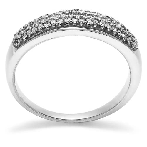 14k White Gold Diamond Ring (1/4 cttw, H I Color, I1 I2 Clarity), Size 5