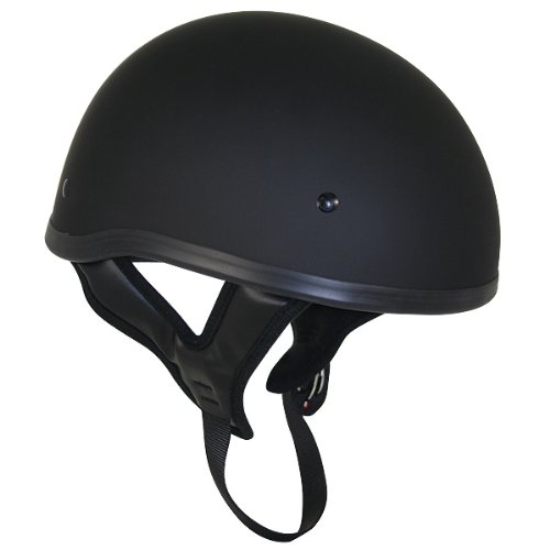DOT Flat Black Motorcycle Skull Cap Half Helmet with No Outlaw Graphic Logo - Size : Large