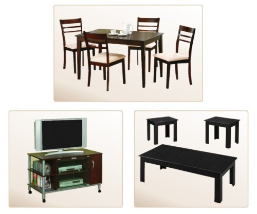 Cheap Complete Home Package #2 – 5PC Dining Table Chairs Set, TV Stand & 3pc Coffee End Table Set (VF_HSP-002)