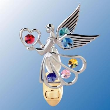 Chrome Angel with Heart Night Light - Multicolored Swarovski Crystal