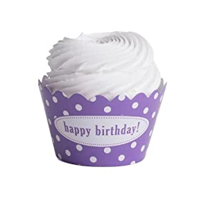 Dress+My+Cupcake Dress My Cupcake Personalized Message Cupcake Wrappers, Polka Dot, Happy Birthday, Lavender, Set of 50