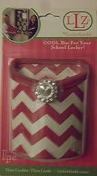 LLZ BY LockerLookz Cool Magnet Bin for School Locker, Pinkish Red Chevrons