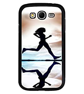 Fuson Premium Running Girl Metal Printed with Hard Plastic Back Case Cover for Samsung Galaxy Grand 2 G7102 G7106