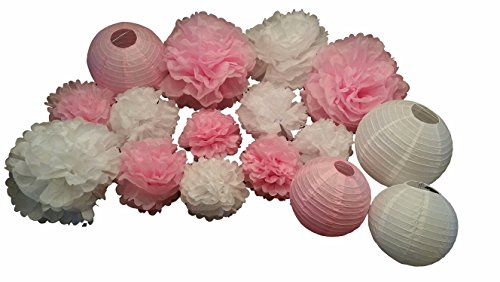 16 Piece Mixed Sizes White/Pink Tissue POM POMS and LANTERNS Bundle (Crepe Pom Pom compare prices)