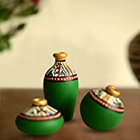 ExclusiveLane Terracotta Warli Handpainted Pots Green Set Of 3 - Home Décor Wall Decoratives Vases Gift Items...