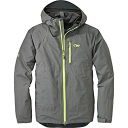 Outdoor Research Men\'s Foray Jacket, Large, Pewter/Lemongrass