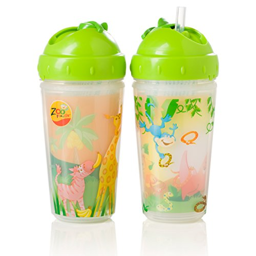 Evenflo Feeding Zoo Friends Insulated Straw Cups, Green
