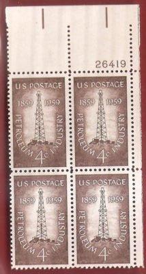 Postage Stamp US Petroleum Industry Sc 1134 MNHVF Block of 4
