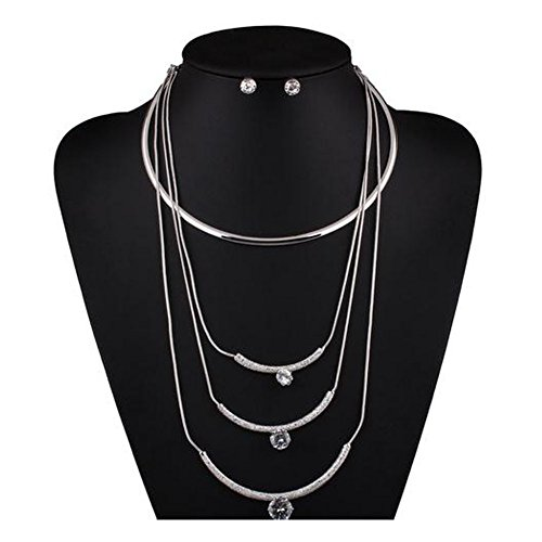 Cyber Monday Elakaka Women's Fashion Personality Multi - layered Wild Necklace Sets(Silver) (Shark Lock Boot compare prices)