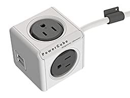 PowerCube Extended 4 Outlet Power Adapter with USB Port , 5 Foot Cord - Trolley Grey