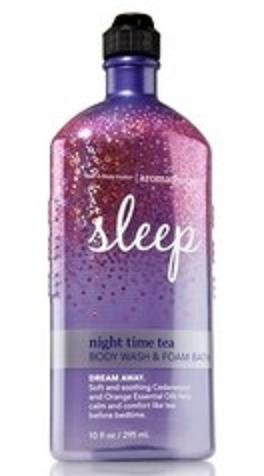 Bath and Body Works Night Time Tea 10 Oz Body Wash & Foam Bath Dream Away Aromatherapy Limited Scent Bath Time Body