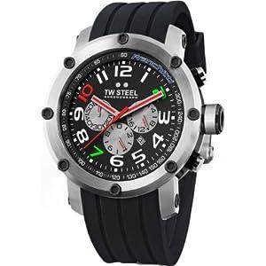 TW Steel TW608 - Reloj cronógrafo de cuarzo unisex con correa de caucho, color negro