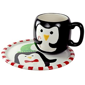 Peppermint Penguin Plate and Mug