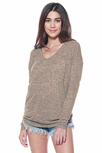 A+D Womens Thin Dolman Sleeve Knit Pullover Sweater Top (S-XL) (Mocha, X-Large)