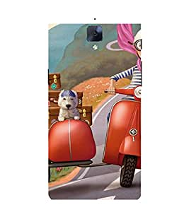 ANIMATED BOY AND A PET TRAVELLING ON A VACATION 3D Hard Polycarbonate Designer Back Case Cover for One Plus Three :: One Plus 3 :: One+3 :: OnePlus 3