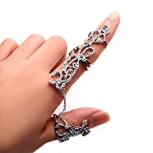 buy Babeyond® Charm Rhinestones Crystal Chain Link Finger Double Ring Knuckle Floral Design Free Size (Silver)