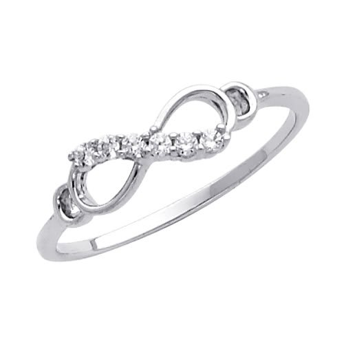 14K White Gold with CZ Promise Infinity Ring