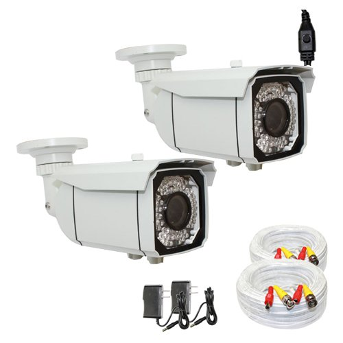 """(2) Pack Of Professional 1/3"""" Exview Had Ccd Ii With Effio-E Dsp Devices 700Tvl Ir Surveillance Security Camera With 200Ft Bnc Cable & Power Supply Pack --700 Tv Lines, 2.8~12Mm Varifocal Lens, 66 Ir Leds, 196 Feet Ir Distance. Wdr(Wide Dynamic Range). Os"""