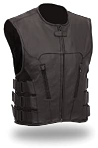 Mens Updated SWAT Team Leather Motorcycle Vest Style Vest Soft Buffalo Leather(Black,... by The Nekid Cow