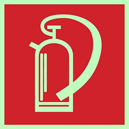 Brandschutzzeichen-Symbolschild-Feuerlscher-DIN-Kunststoffplatte-nachleuchtend--selbstklebend-150x150mm