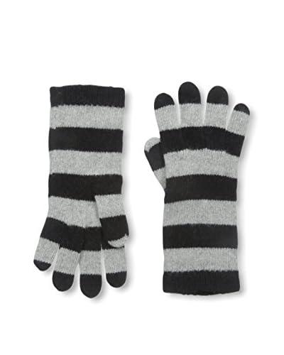 Portolano Women's Striped Cashmere Glove, Black/Grigio Chia