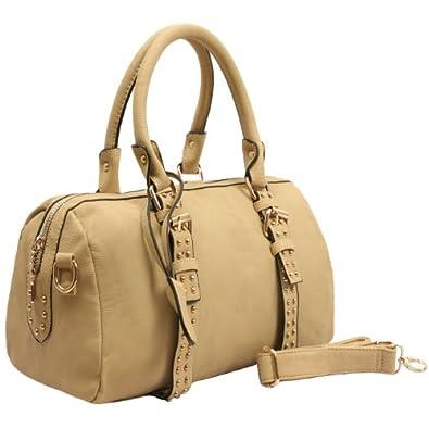 MG Collection LIZETTE Beige Bowling Style Studded Barrel Shoulder Bag