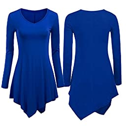 Generic Blue Women\'s Loose Tops Long Sleeve Shirt Casual Blouse Round Neck