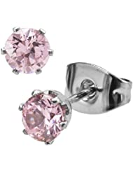 Inox Jewelry Pink CZ And Silver Stainless Steel Stud Earrings For Women (6mm)
