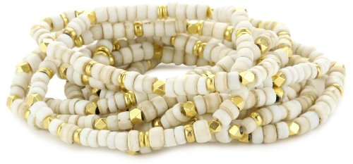 Vanessa Mooney Moon Rising Old White Glass Bead Bracelet Set
