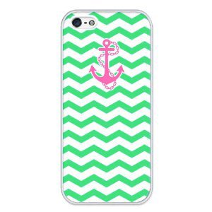 Chevron Pattern With Anchor RUBBER iphone 5 case